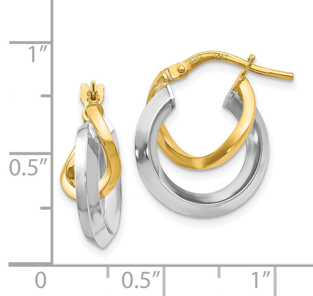 Alternate view of the 16mm (5/8 Inch) 14k Two Tone Gold Polished Double Round Hoop Earrings by The Black Bow Jewelry Co.