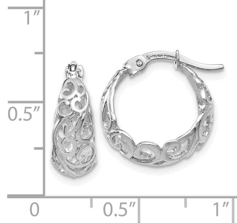 Alternate view of the Ornate Tapered Round Hoop Earrings in 14k White Gold, 16mm (5/8 Inch) by The Black Bow Jewelry Co.