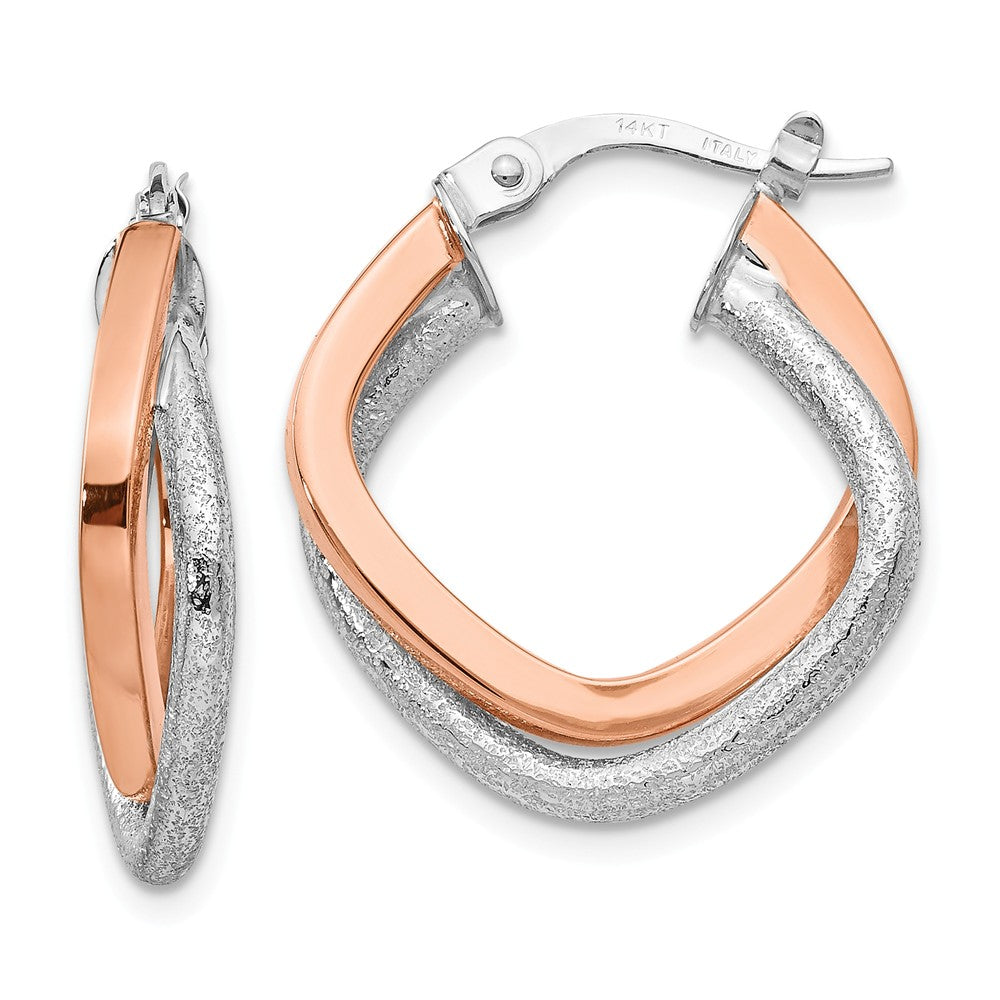 4 x 20mm (3/4 Inch) 14k White & Rose Gold Double Square Hoop Earrings, Item E16596 by The Black Bow Jewelry Co.