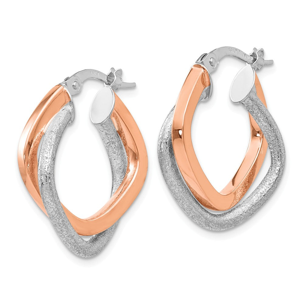 Alternate view of the 4 x 20mm (3/4 Inch) 14k White & Rose Gold Double Square Hoop Earrings by The Black Bow Jewelry Co.