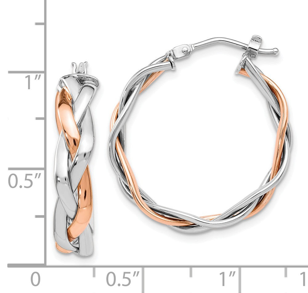 Alternate view of the 5 x 25mm (1 Inch) 14k White and Rose Gold Braided Round Hoop Earrings by The Black Bow Jewelry Co.