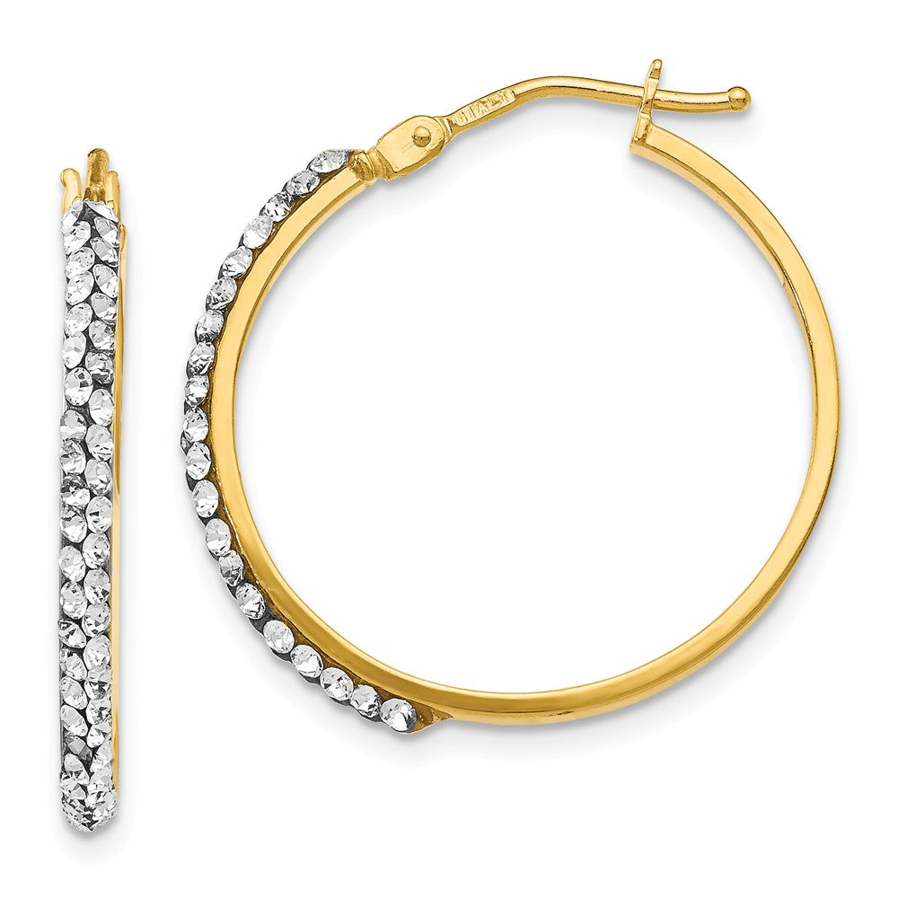 2 x 25mm (1 Inch) 14k Yellow Gold with Swarovski Crystals Round Hoops, Item E16609 by The Black Bow Jewelry Co.