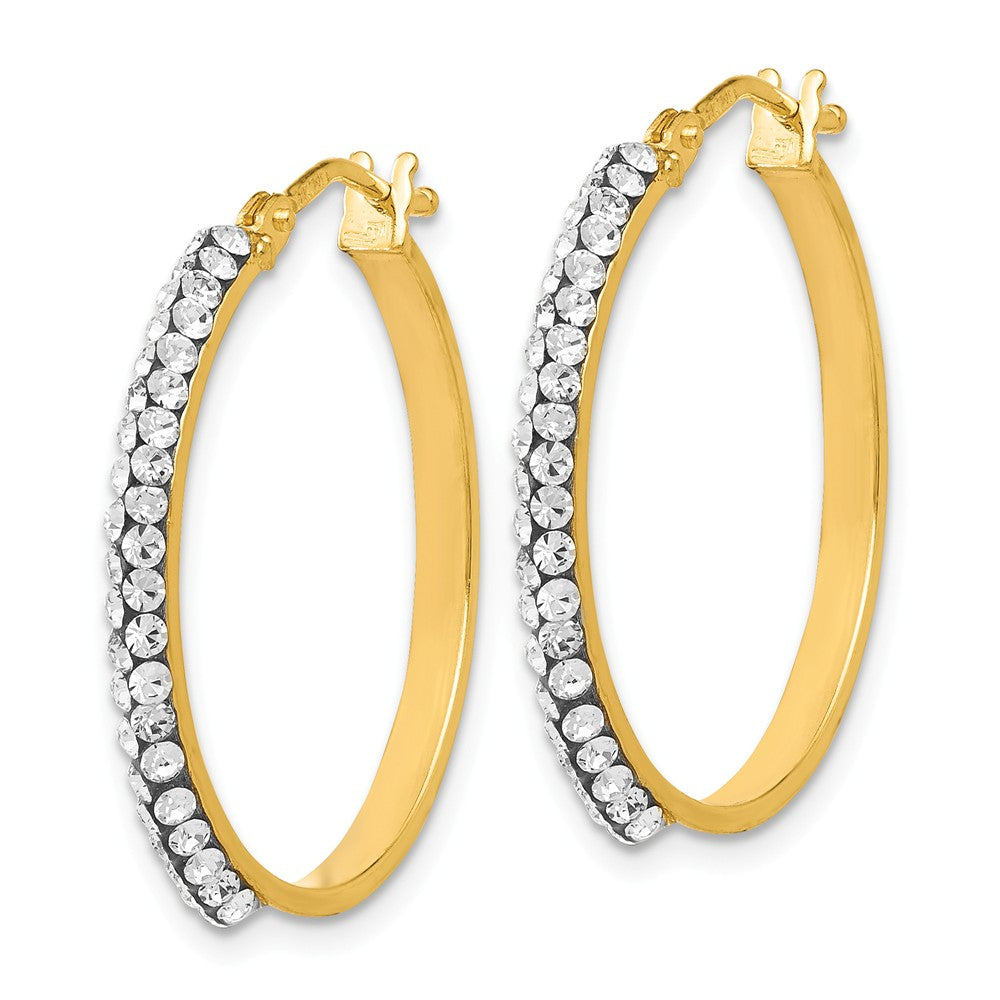 Alternate view of the 2 x 25mm (1 Inch) 14k Yellow Gold with Swarovski Crystals Round Hoops by The Black Bow Jewelry Co.