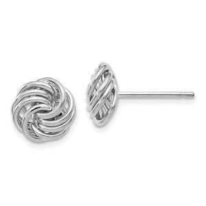11mm (7/16 Inch) 14k White Gold Polished Love Knot Stud Earrings - The Black Bow Jewelry Co.