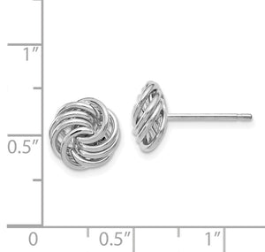 Alternate view of the 11mm (7/16 Inch) 14k White Gold Polished Love Knot Stud Earrings by The Black Bow Jewelry Co.