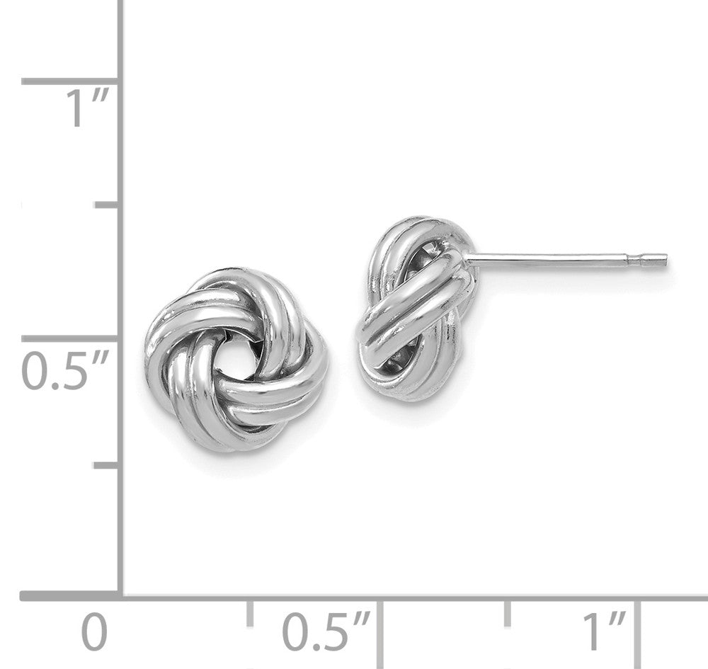 Alternate view of the 9.5mm (3/8 Inch) 14k White Gold Polished Love Knot Post Earrings by The Black Bow Jewelry Co.
