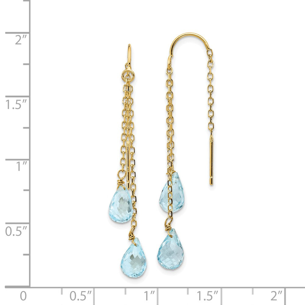 Alternate view of the 5 x 47mm 14k Yellow Gold Dbl Blue Topaz Pear Shape Threader Earrings by The Black Bow Jewelry Co.