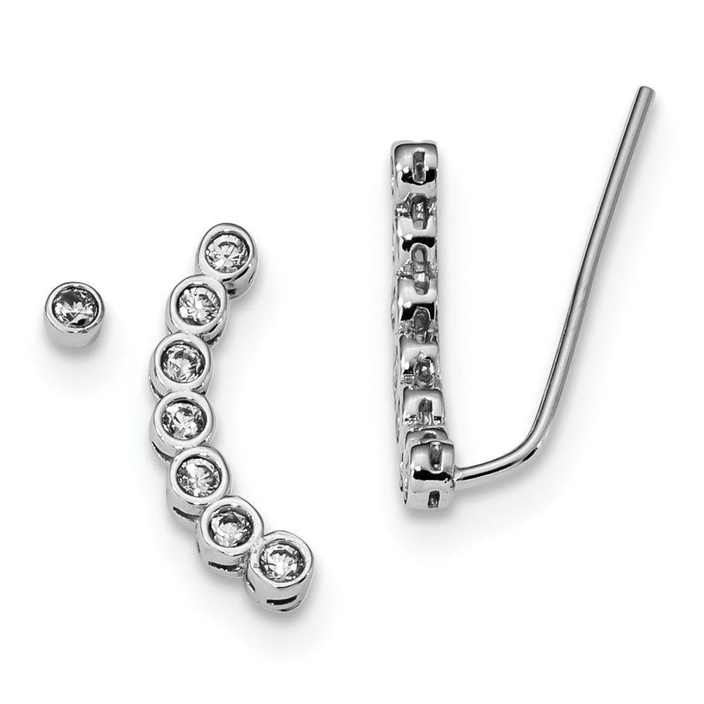 CZ Rhodium-Plated Sterling Silver 1 Ear Climber & 1 -3mm Stud Earring, Item E16726 by The Black Bow Jewelry Co.