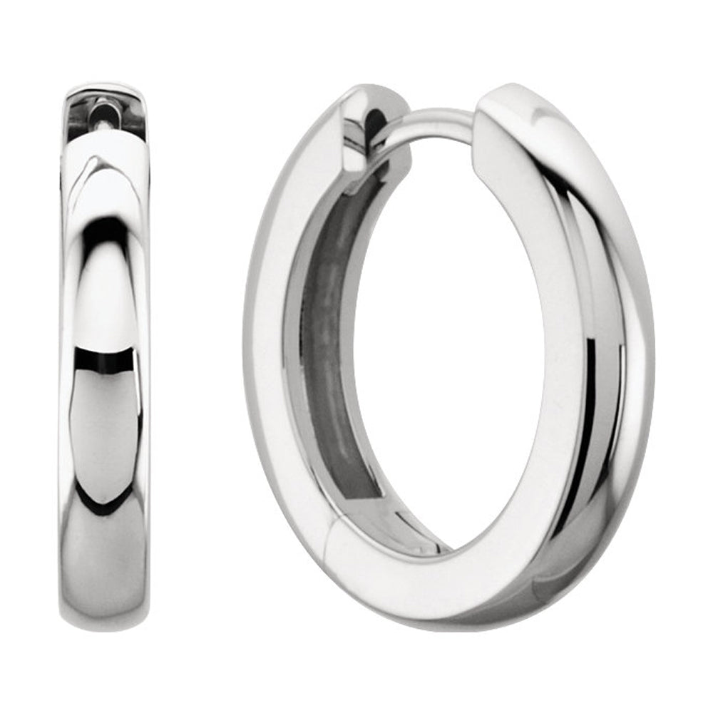 3 x 14mm (1/8 x 9/16 Inch) Platinum Hinged Round Hoop Earrings, Item E16738 by The Black Bow Jewelry Co.