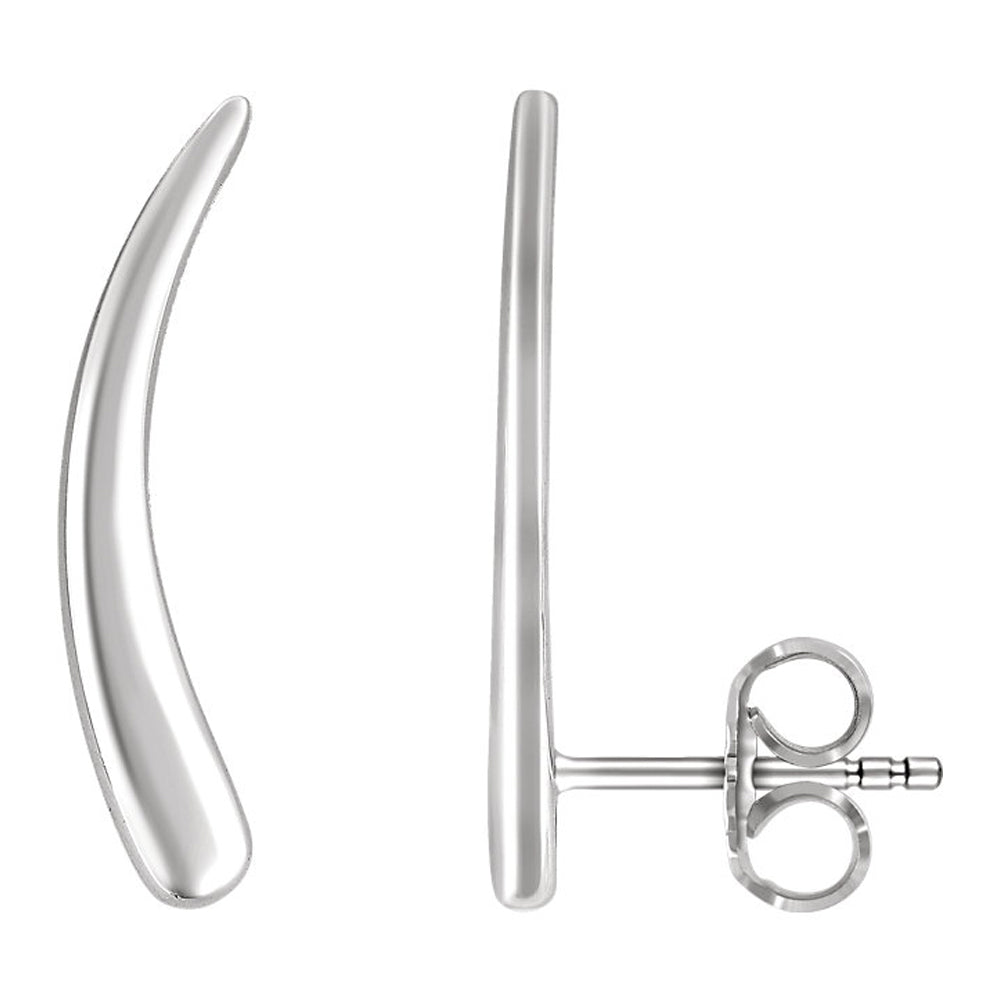 2mm x 20mm (3/4 Inch) 14k White Gold Curved Ear Climbers, Item E16742 by The Black Bow Jewelry Co.
