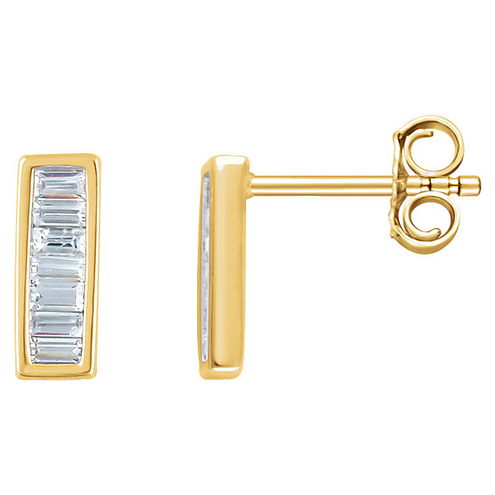 3 x 9mm 14k Yellow Gold 1/3 CTW (H-I,I1) Diamond Baguette Bar Earrings, Item E16770 by The Black Bow Jewelry Co.