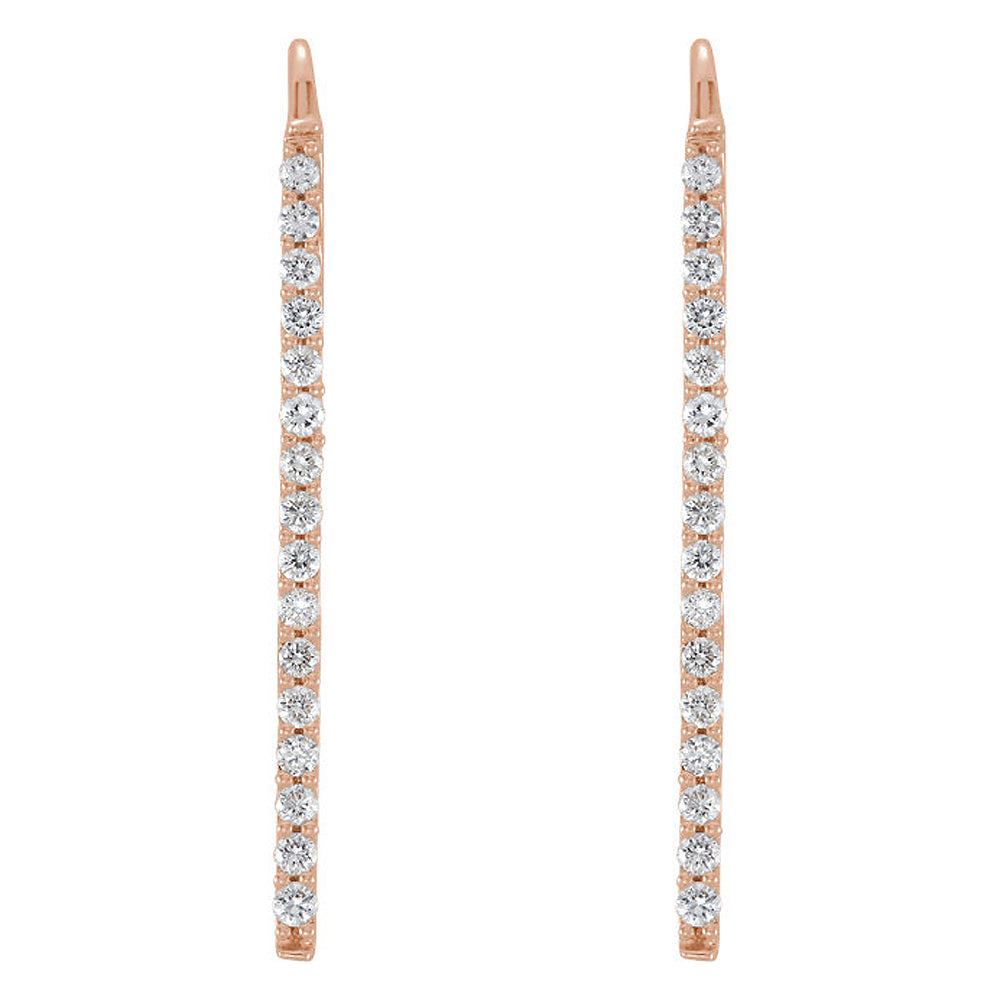 Alternate view of the 1.3 x 23mm 14k Rose Gold 1/3 CTW (H-I, I1) Diamond Bar Earrings by The Black Bow Jewelry Co.