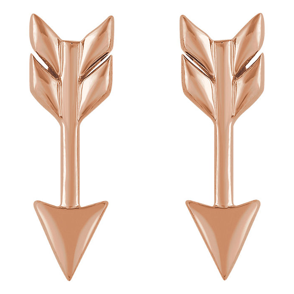 Alternate view of the 5mm x 17mm (5/8 Inch) 14k Rose Gold Small Arrow Post Earrings by The Black Bow Jewelry Co.