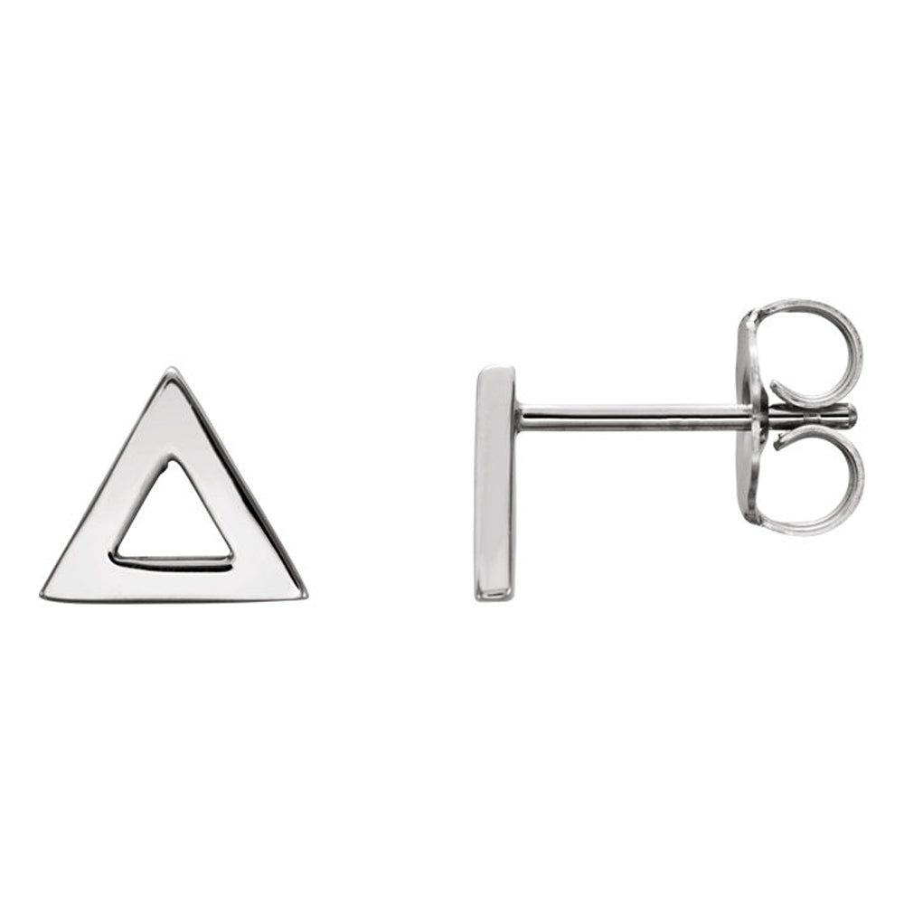 7mm (1/4 Inch) Polished Platinum Tiny Triangle Post Earrings, Item E16846 by The Black Bow Jewelry Co.