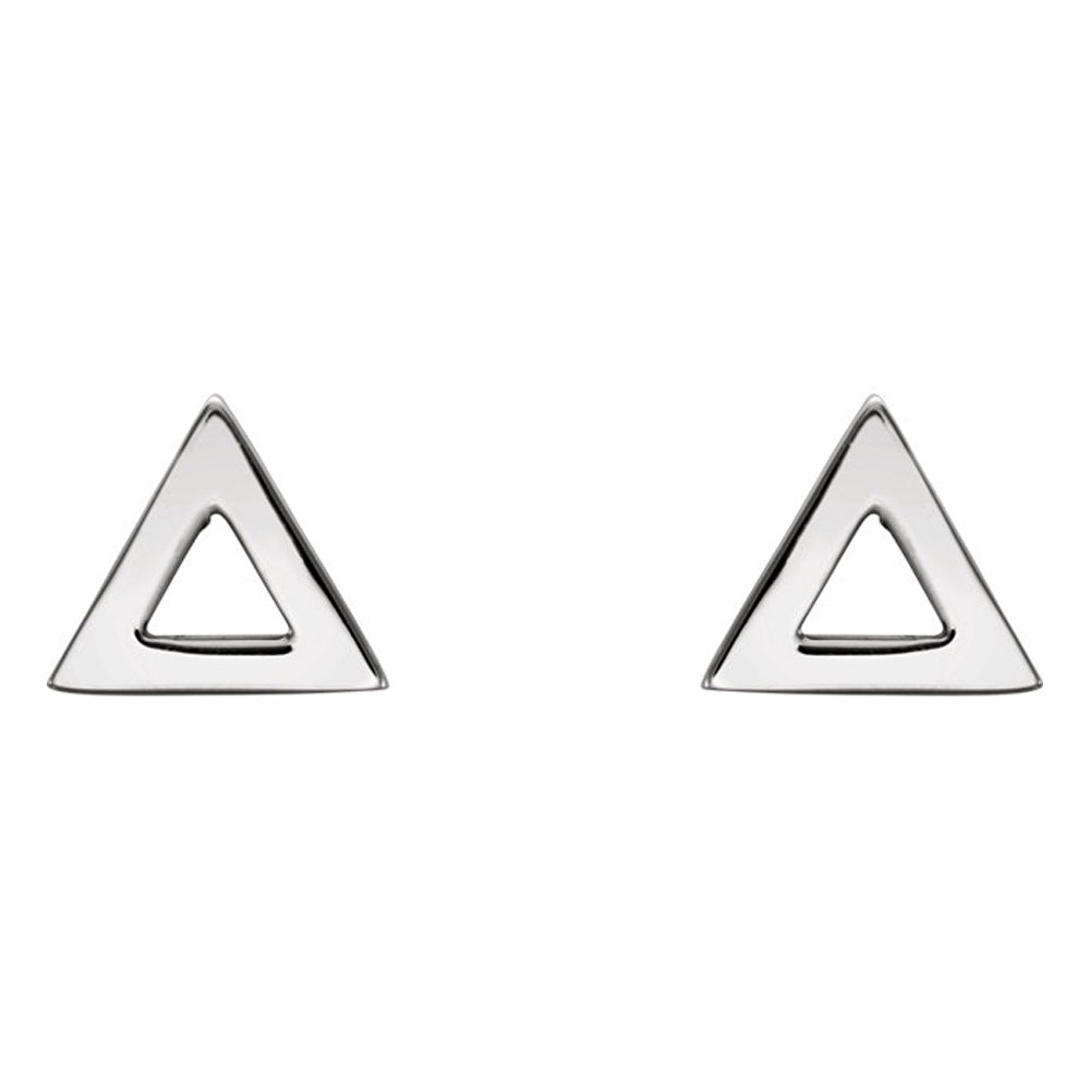 Alternate view of the 7mm (1/4 Inch) Polished Platinum Tiny Triangle Post Earrings by The Black Bow Jewelry Co.