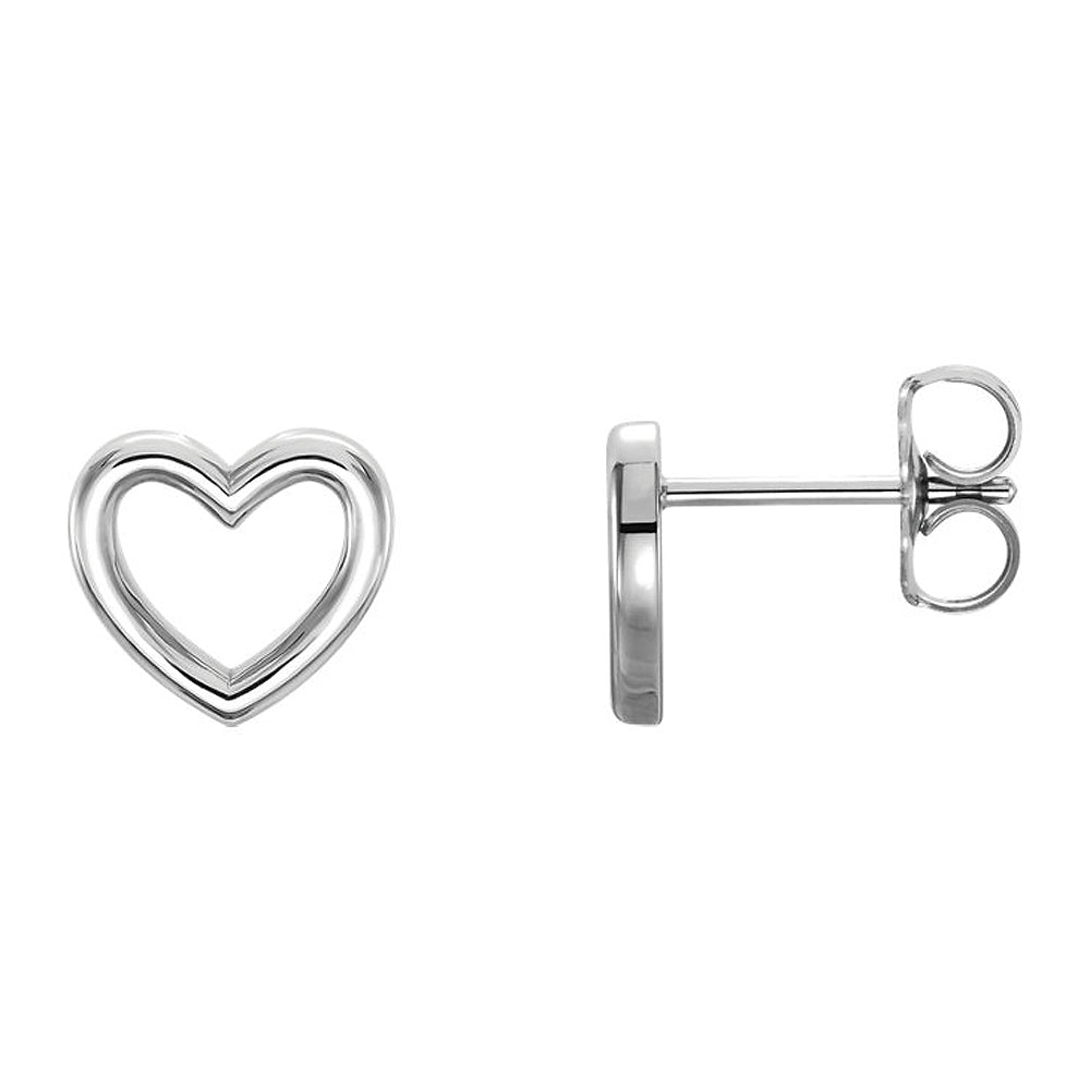 9 x 8mm (3/8 Inch) Polished Sterling Silver Small Heart Post Earrings, Item E16881 by The Black Bow Jewelry Co.