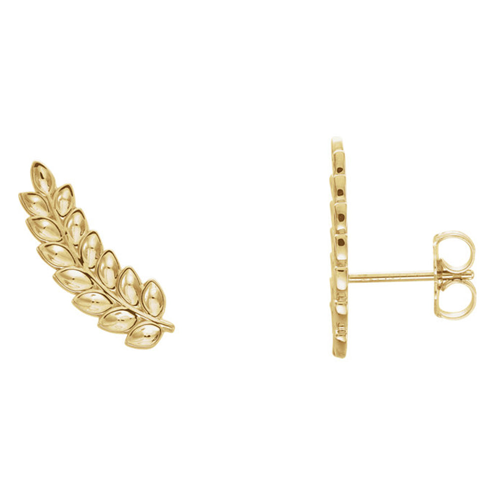 5.7mm x 16mm (5/8 Inch) 14k Yellow Gold Petite Leaf Ear Climbers, Item E16895 by The Black Bow Jewelry Co.