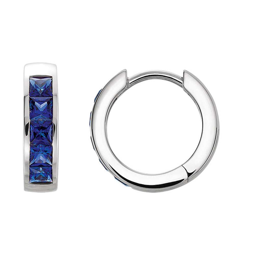 14k White Gold Created Blue Sapphire Hinged Round Hoop Earrings, 14mm, Item E16978 by The Black Bow Jewelry Co.