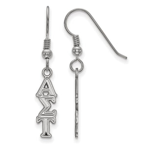 Sterling Silver Small Alpha Sigma Tau Dangle Earrings - The Black Bow Jewelry Co.