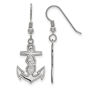 Sterling Silver Alpha Sigma Tau Small Dangle Earrings - The Black Bow Jewelry Co.