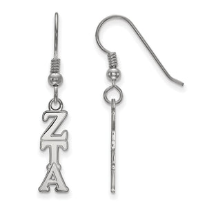 Sterling Silver Small Zeta Tau Alpha Dangle Earrings - The Black Bow Jewelry Co.