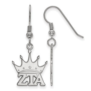 Sterling Silver Zeta Tau Alpha Small Dangle Earrings - The Black Bow Jewelry Co.