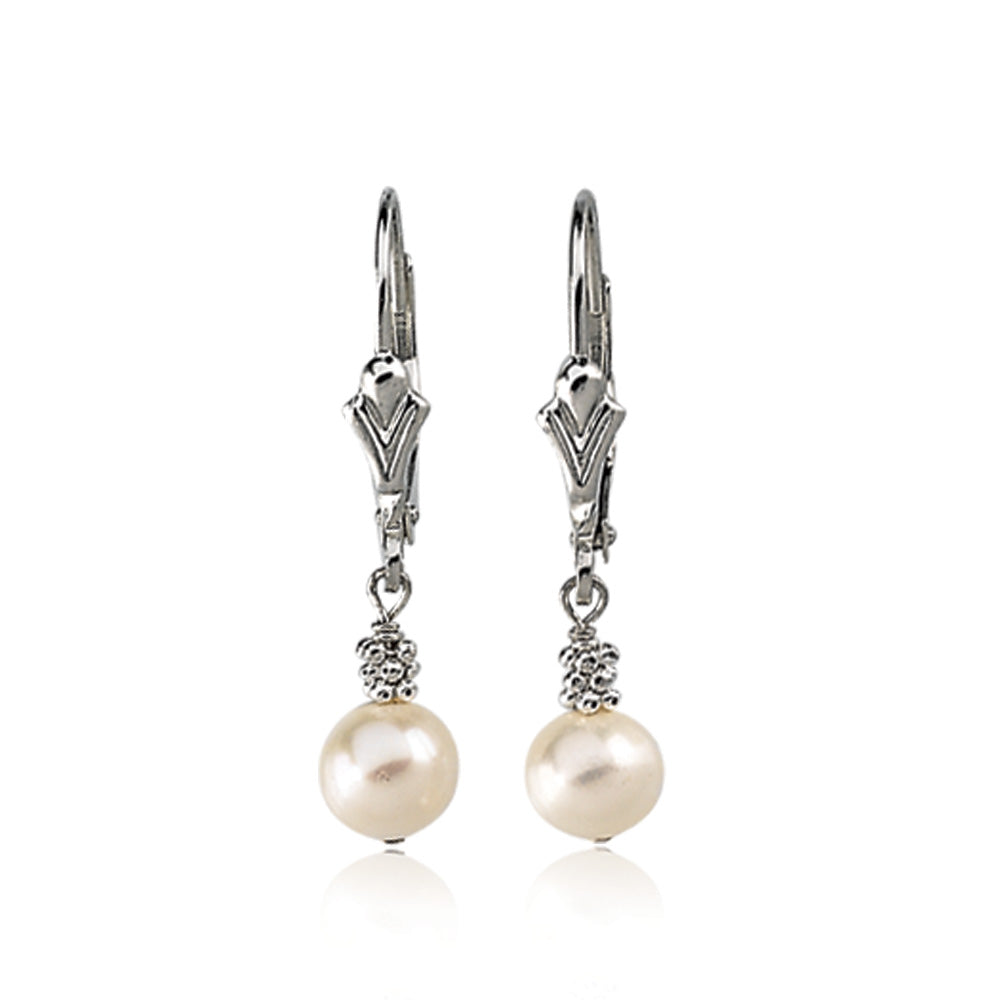 Sterling Silver and White Freshwater Cultured Pearl Leverback Earrings, Item E8297 by The Black Bow Jewelry Co.
