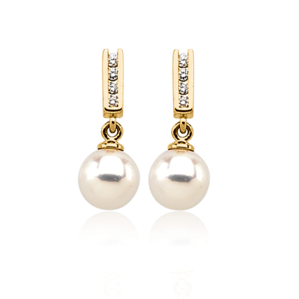 14k Yellow Gold Akoya Cultured Pearl & 1/8 Ctw Diamond Earrings, Item E8316 by The Black Bow Jewelry Co.