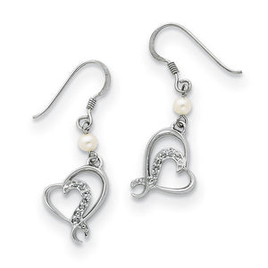 Sterling Silver, CZ & Cultured Pearl Sister/Bridesmaid Heart Earrings - The Black Bow Jewelry Co.