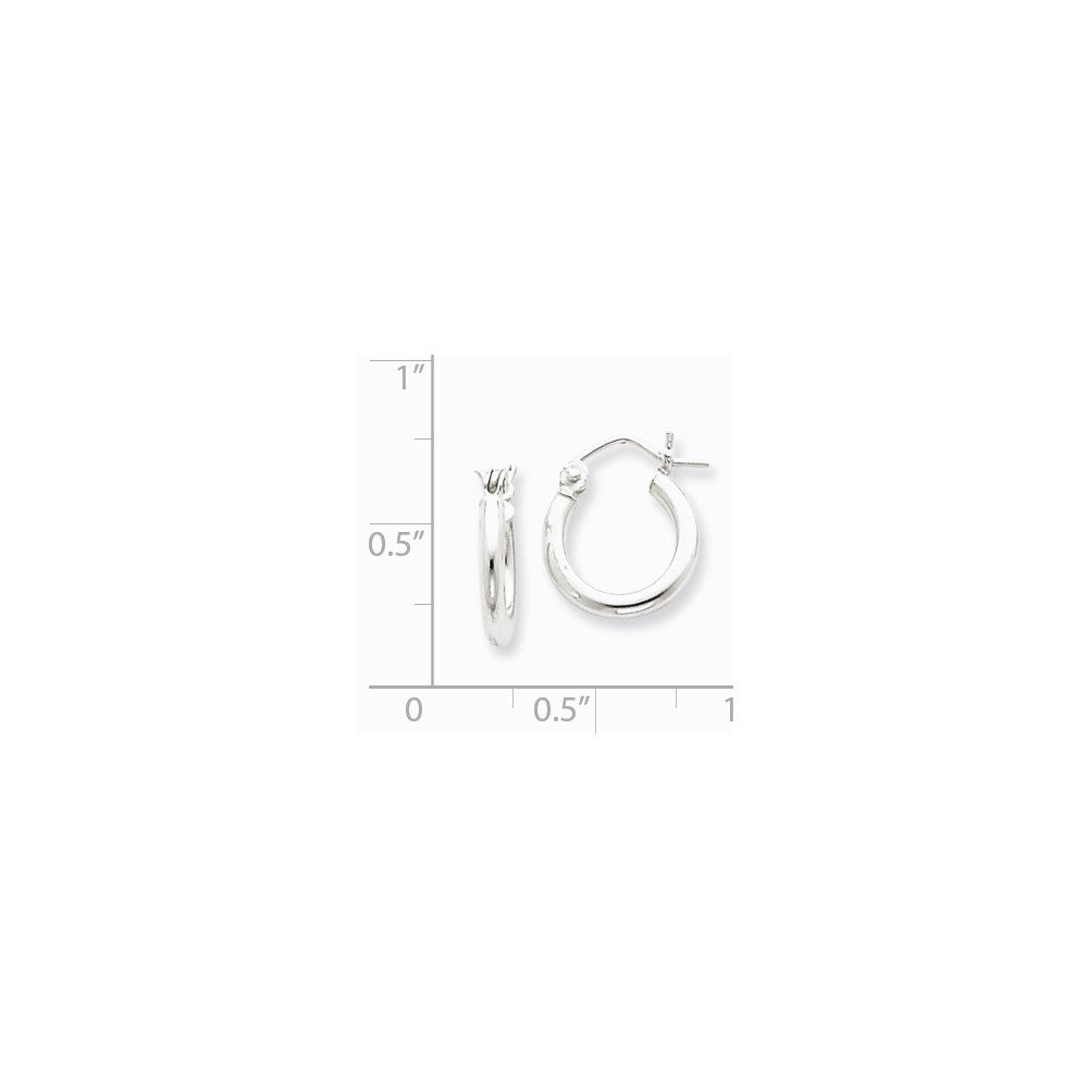 Alternate view of the 2mm, Sterling Silver, Classic Round Hoop Earrings - 12mm (7/16 Inch) by The Black Bow Jewelry Co.