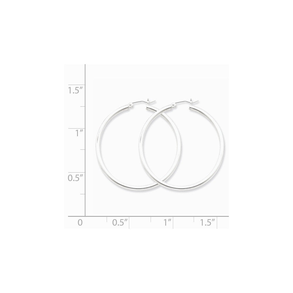 Alternate view of the 2.5mm, Sterling Silver, Classic Round Hoop Earrings - 45mm (1 3/4 In.) by The Black Bow Jewelry Co.