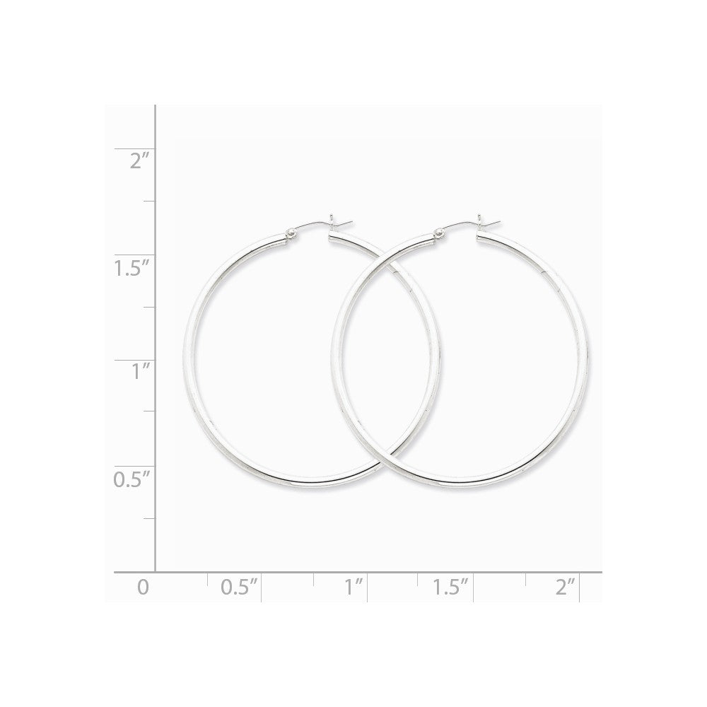 Alternate view of the 2.5mm, Sterling Silver, Classic Round Hoop Earrings - 55mm (2 1/8 In.) by The Black Bow Jewelry Co.