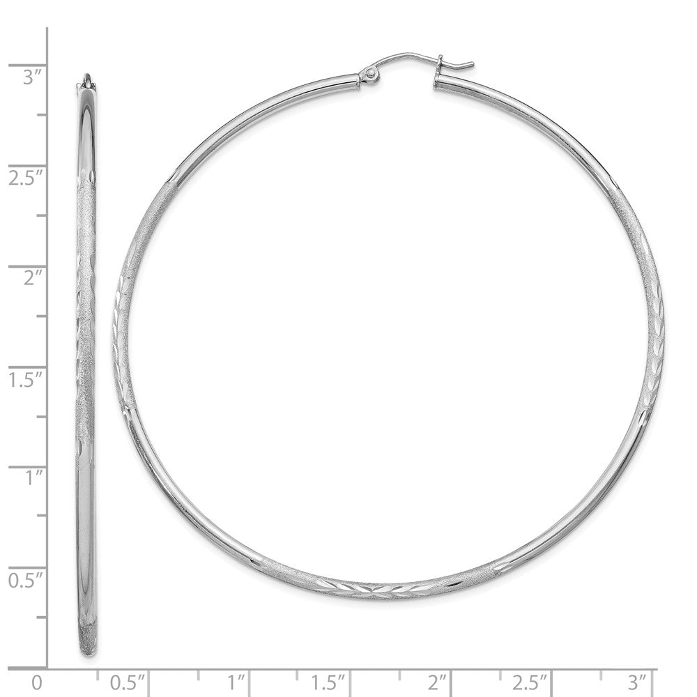 Alternate view of the 2mm, Satin, Diamond Cut, XL Sterling Silver Hoops - 70mm (2 3/4 Inch) by The Black Bow Jewelry Co.