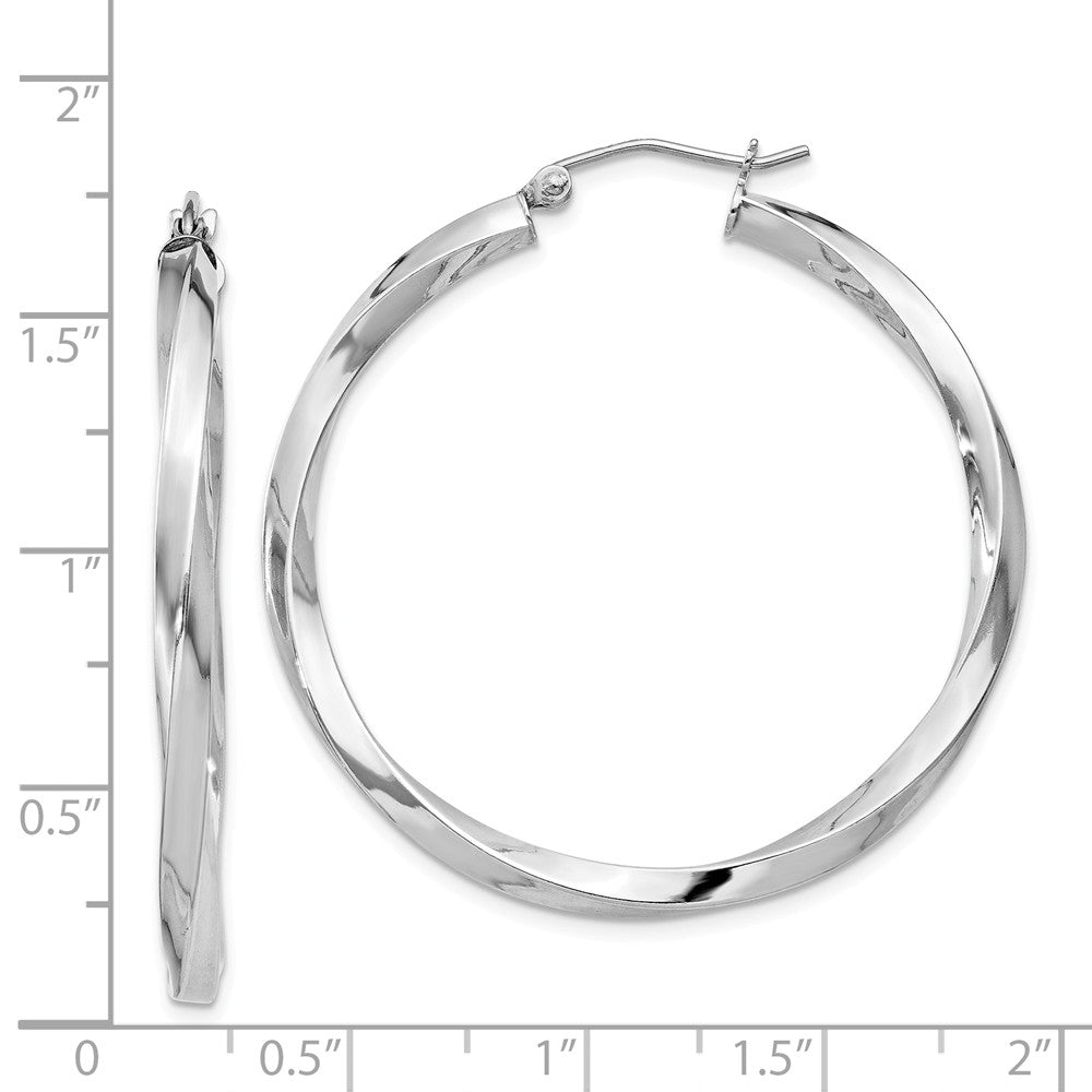 Alternate view of the 3mm, Sterling Silver, Twisted Round Hoop Earrings, 40mm Dia.(1 1/2 In) by The Black Bow Jewelry Co.