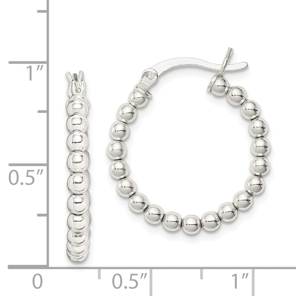 Alternate view of the Sterling Silver, 3mm Beaded Round Hoop Earrings - 22mm (7/8 Inch) by The Black Bow Jewelry Co.