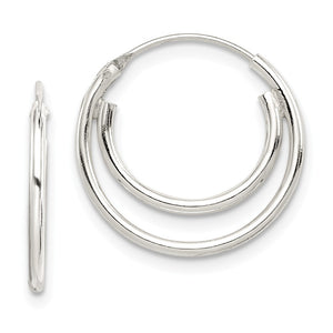 Sterling Silver, Endless Double Hoop Earrings - 17mm (5/8 Inch) - The Black Bow Jewelry Co.