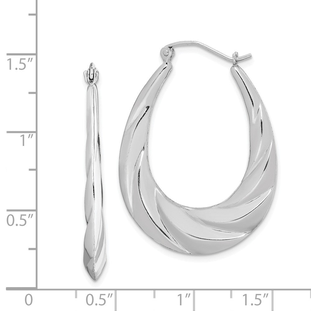Alternate view of the Wispy Designed Puffed Oval Hoop Earrings in Sterling Silver by The Black Bow Jewelry Co.