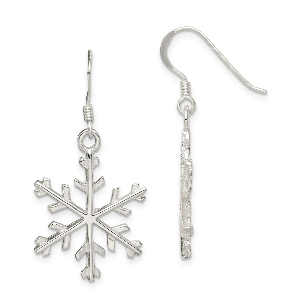 Sterling Silver Polished Snowflake Dangle Earrings - 7/8 Inches, Item E9126 by The Black Bow Jewelry Co.