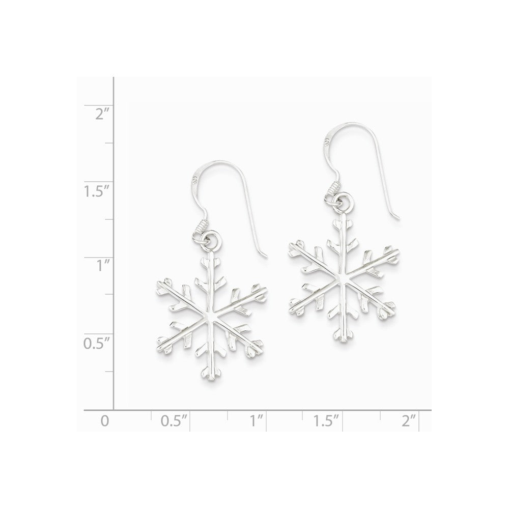 Alternate view of the Sterling Silver Polished Snowflake Dangle Earrings - 7/8 Inches by The Black Bow Jewelry Co.