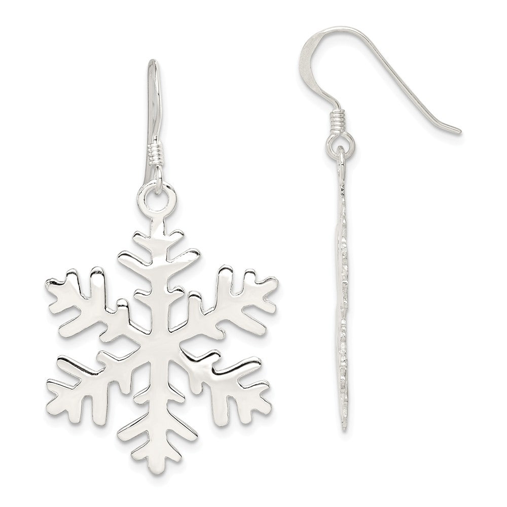 Sterling Silver Polished and Full Snowflake Dangle Earrings - 1 Inch, Item E9127 by The Black Bow Jewelry Co.