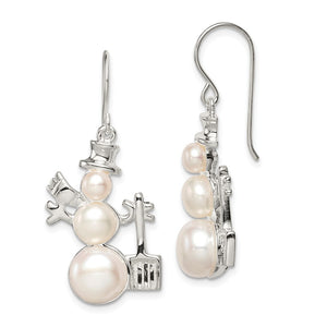 Rhodium Plated Sterling Silver & FW Cultured Pearl Snowman Earrings - The Black Bow Jewelry Co.