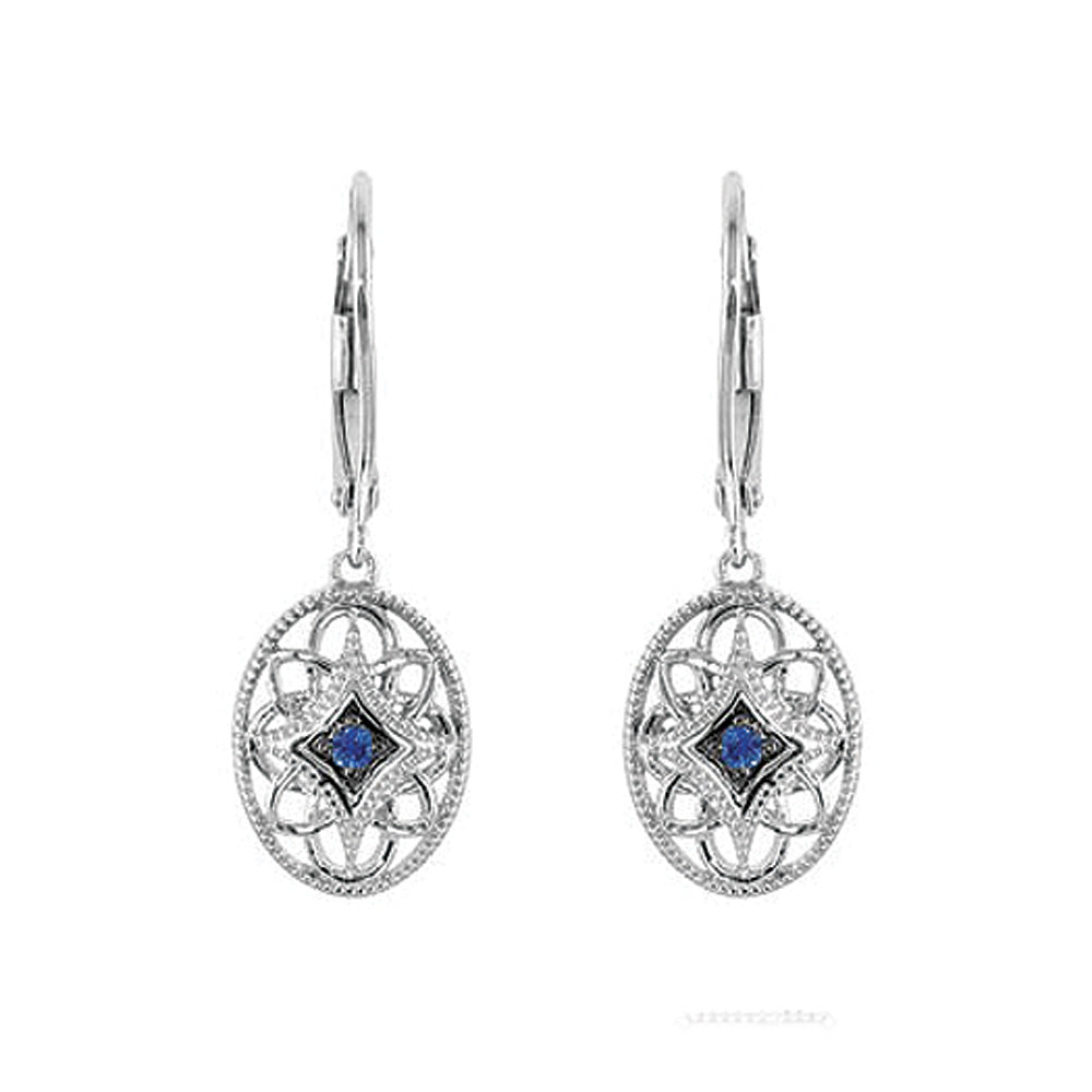 Sterling Silver & Blue Sapphire Vintage Style Oval Lever Back Earrings, Item E9221 by The Black Bow Jewelry Co.