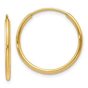 1.25mm, 14k Yellow Gold Endless Hoop Earrings, 18mm (11/16 Inch) - The Black Bow Jewelry Co.