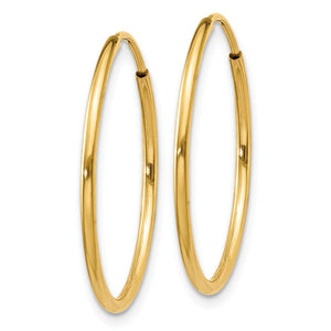 Alternate view of the 1.25mm, 14k Yellow Gold Endless Hoop Earrings, 22mm (7/8 Inch) by The Black Bow Jewelry Co.