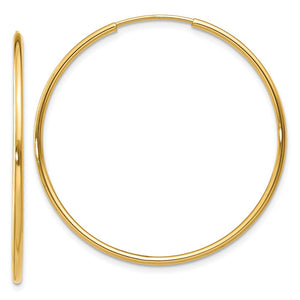1.25mm, 14k Yellow Gold Endless Hoop Earrings, 32mm (1 1/4 Inch) - The Black Bow Jewelry Co.