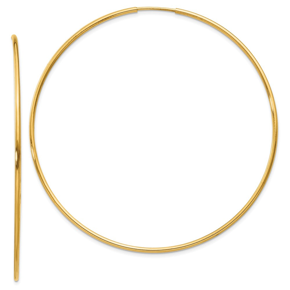 1.25mm, 14k Yellow Gold Endless Hoop Earrings, 60mm (2 3/8 Inch), Item E9375-60 by The Black Bow Jewelry Co.