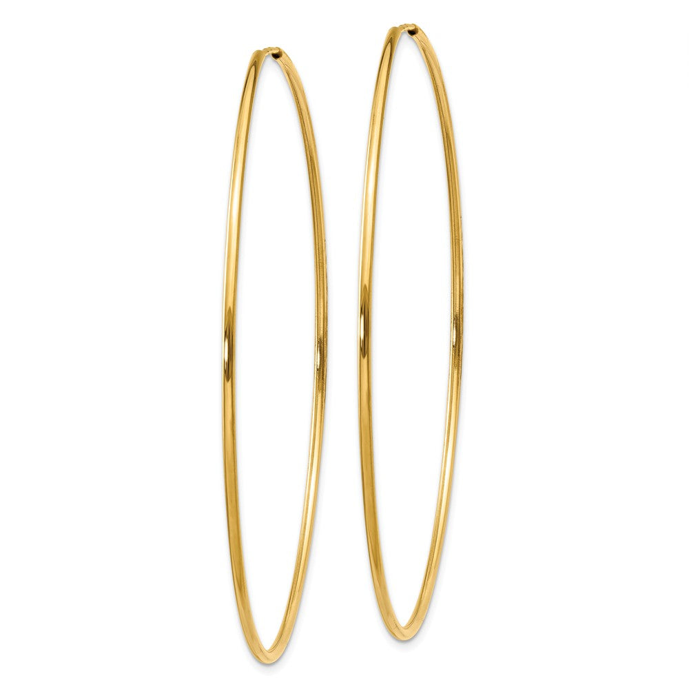 Alternate view of the 1.25mm, 14k Yellow Gold Endless Hoop Earrings, 60mm (2 3/8 Inch) by The Black Bow Jewelry Co.