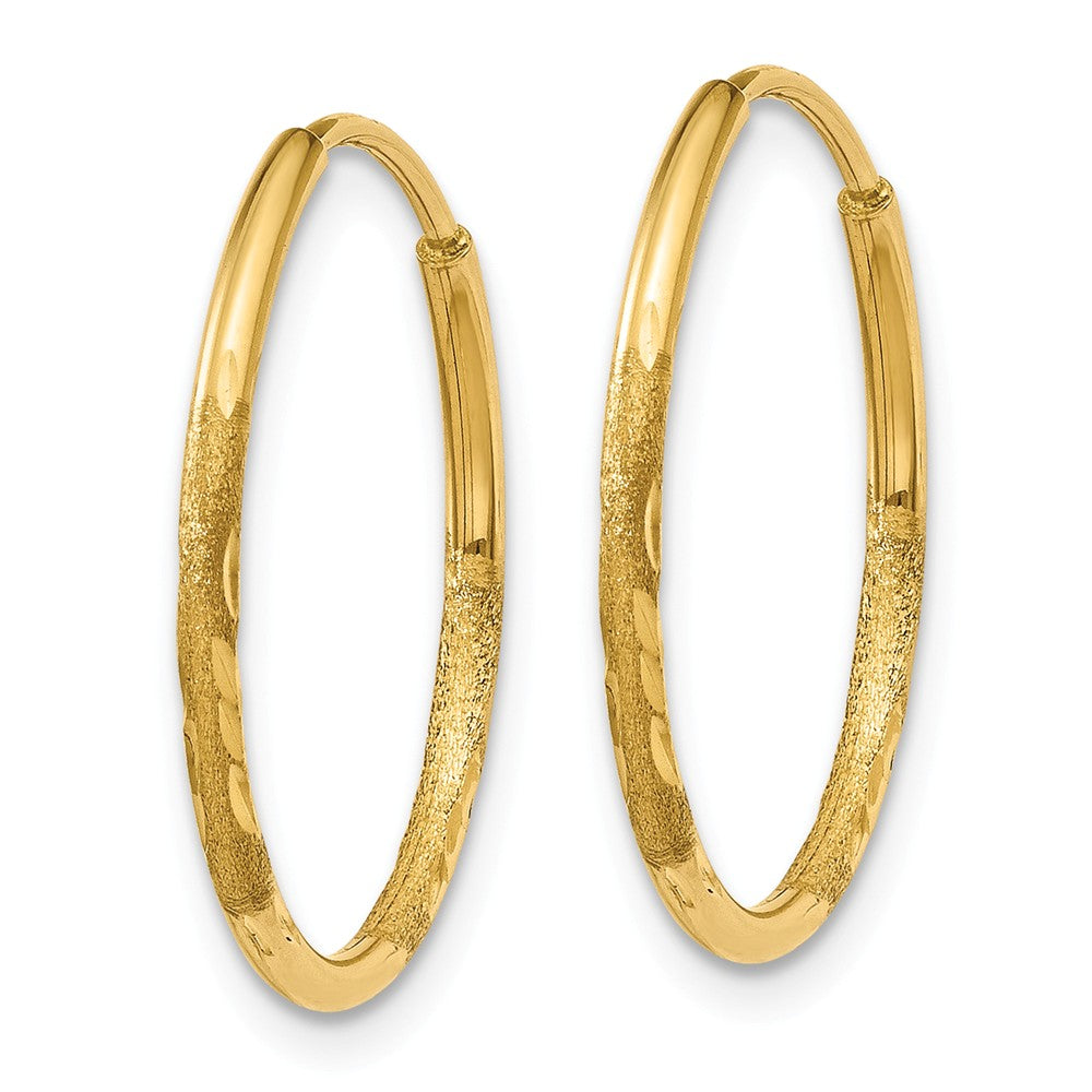 Alternate view of the 1.25mm, 14k Gold, Diamond-cut Endless Hoops, 18mm (11/16 Inch) by The Black Bow Jewelry Co.