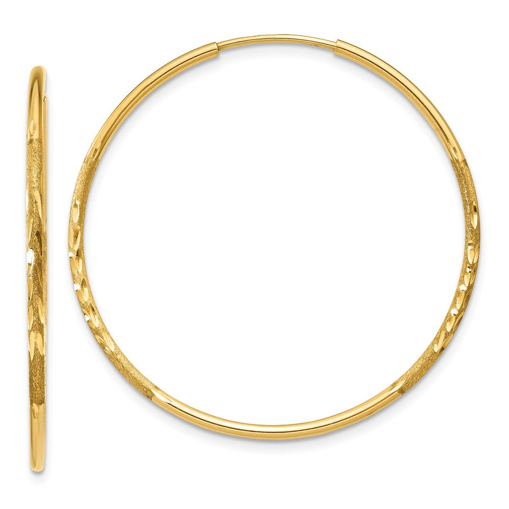 1.25mm, 14k Gold, Diamond-cut Endless Hoops, 32mm (1 1/4 Inch), Item E9377-32 by The Black Bow Jewelry Co.