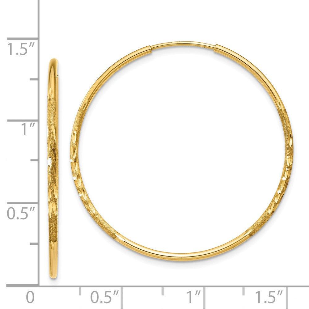 Alternate view of the 1.25mm, 14k Gold, Diamond-cut Endless Hoops, 32mm (1 1/4 Inch) by The Black Bow Jewelry Co.